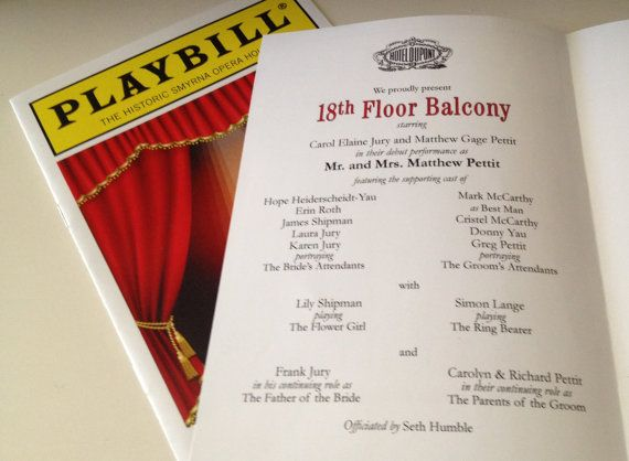 PLAYBILL theater wedding program or invitation 8 page Broadway