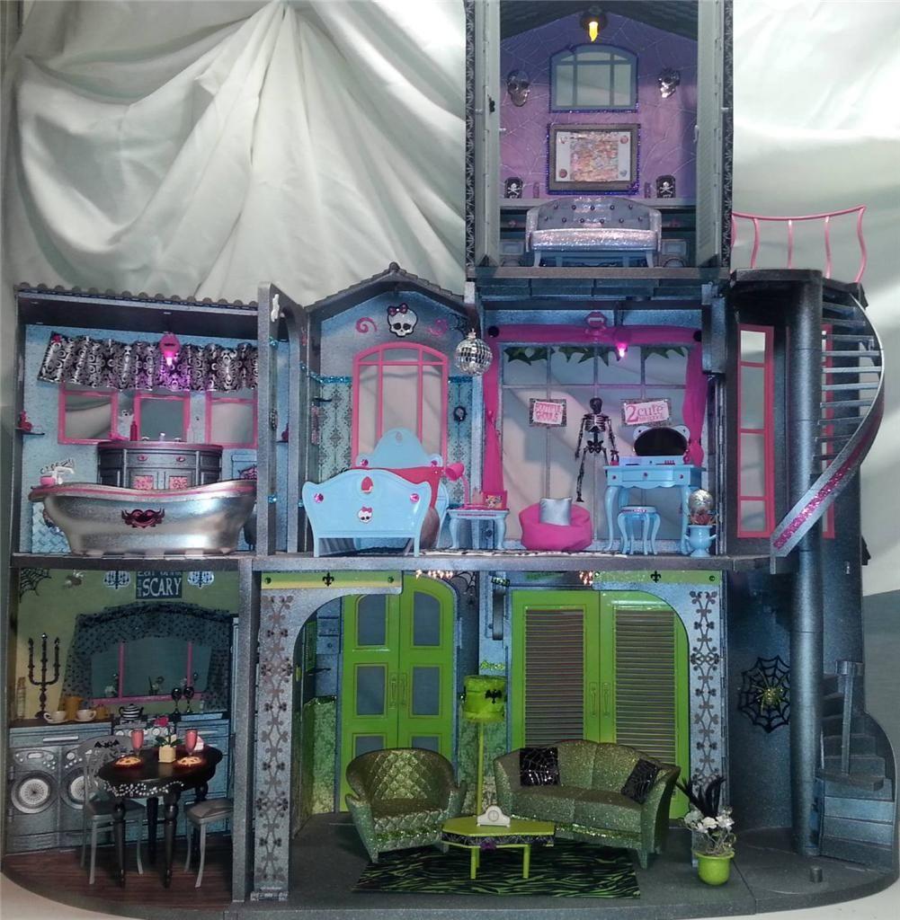 Ooak Custom Monster High School Doll House W Furniture
