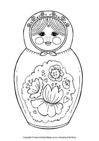 madame alexander coloring pages | Dessin Poupée russe | matriochkas | Coloriage, Poupée ...