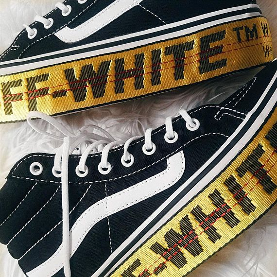 0eb07d2f3f Sk8-HI SLIM Platform Off-White Inspired Womens Custom Vans in 2018 ...