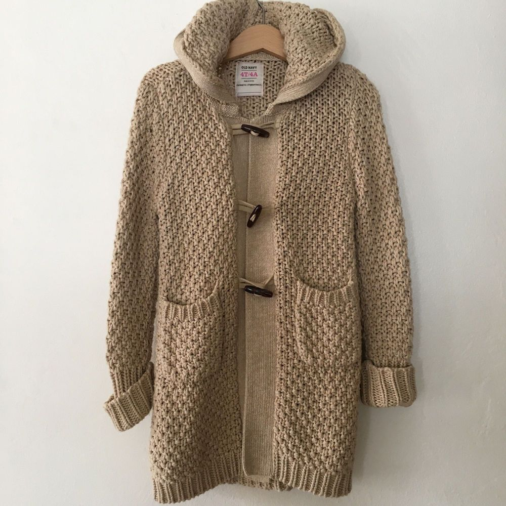 Details about Girls Tan Knit Hooded Cardigan * Toggle Sweater Coat ...