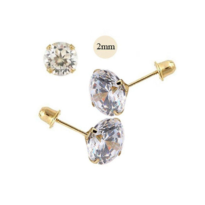 14K Yellow Gold Plated /& Simulated Diamond Studded Screwback Earrings Womens Jewellery