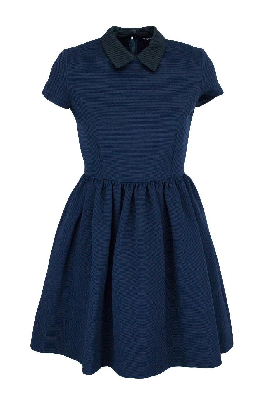 d7f4206ab9 Miu Miu (HK$2,800) - Navy and black, capped sleeve, high collar mini dress  with pleated skirt - Shop now on HULA