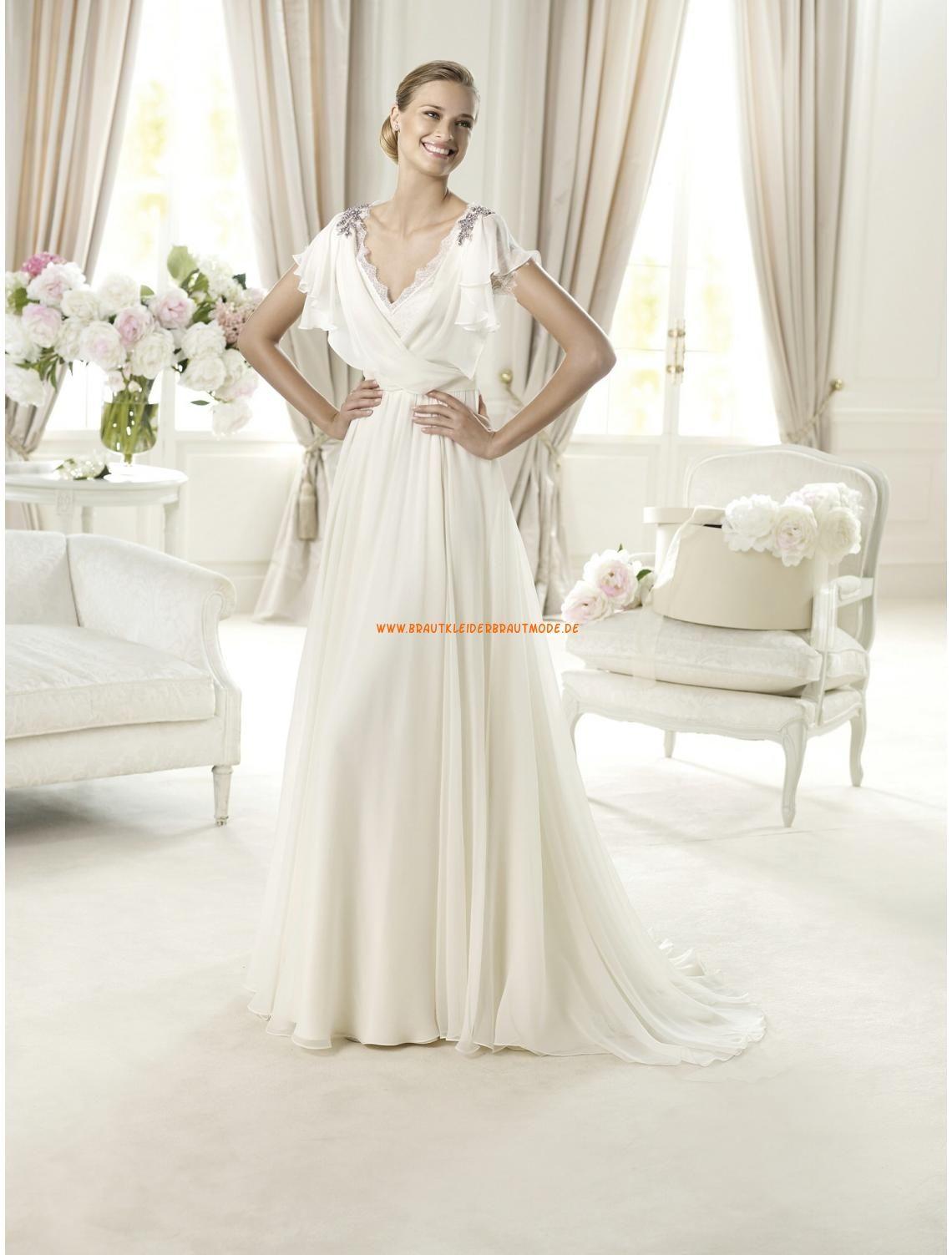 Sexy Brautmode spitze mit Ärmel aus Chiffon V-Ausschnitt ...