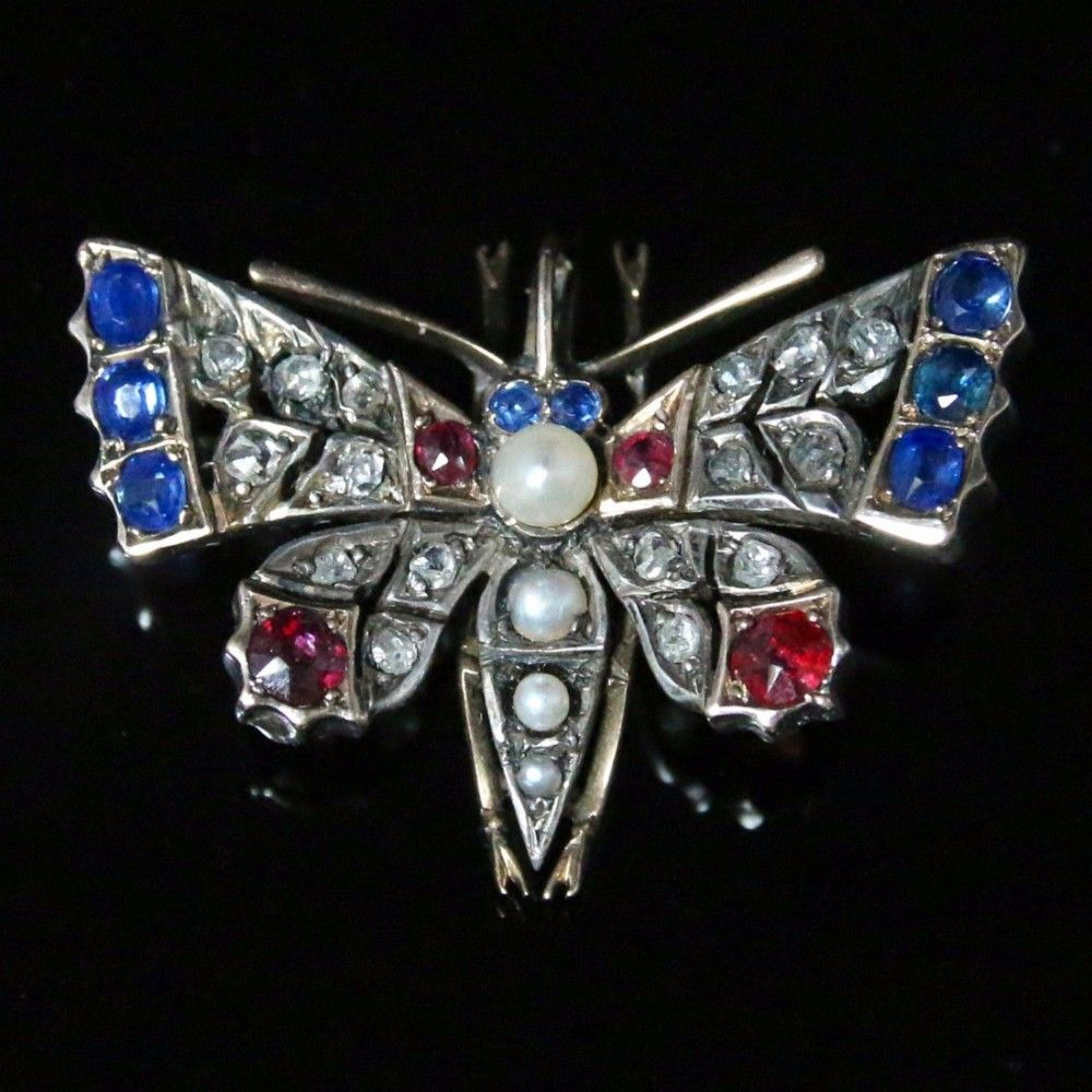 ANTIQUE VICTORIAN DIAMOND BUTTERFLY PENDANT - SAPPHIRES AND RUBIES