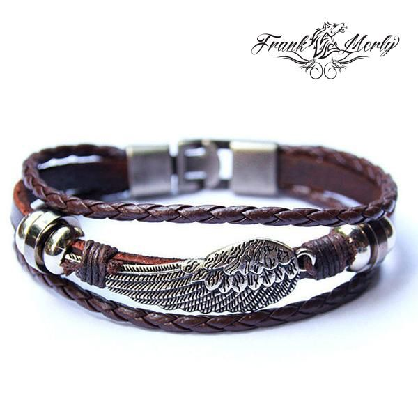 Multi Layer Leather And Stainless Steel Bracelet