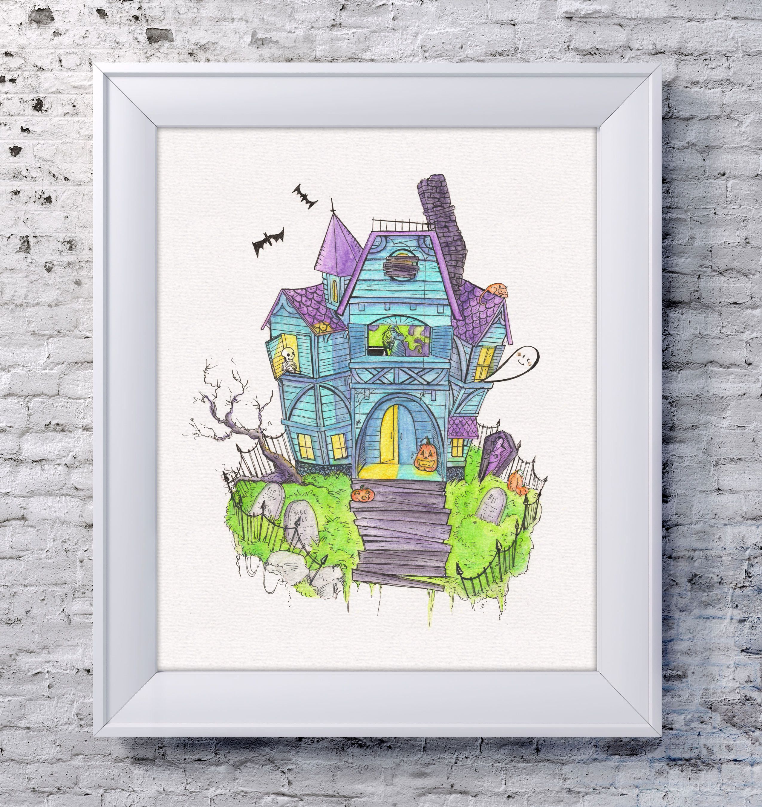 Haunted House Drawing | Watercolor Prints | Halloween Home Decor ...