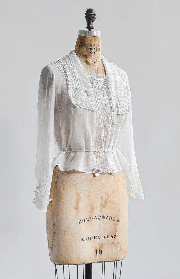 antique 1910s filet lace shirtwaist blouse