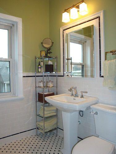 bathroom tile surrounding mirror idea and tile wainscot height