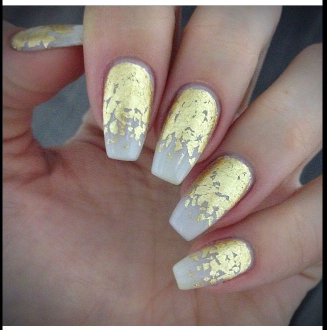 Squoval Silvers: Tapered Square - Nude With Gold Leaf Gradient
