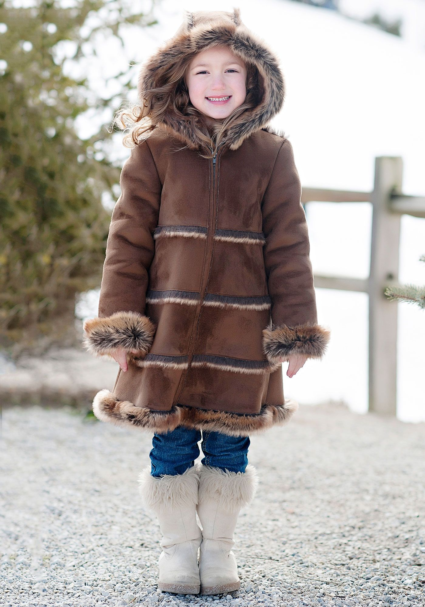 Girls Brown Faux Suede & Fur Hooded Coat | girls clothes ...