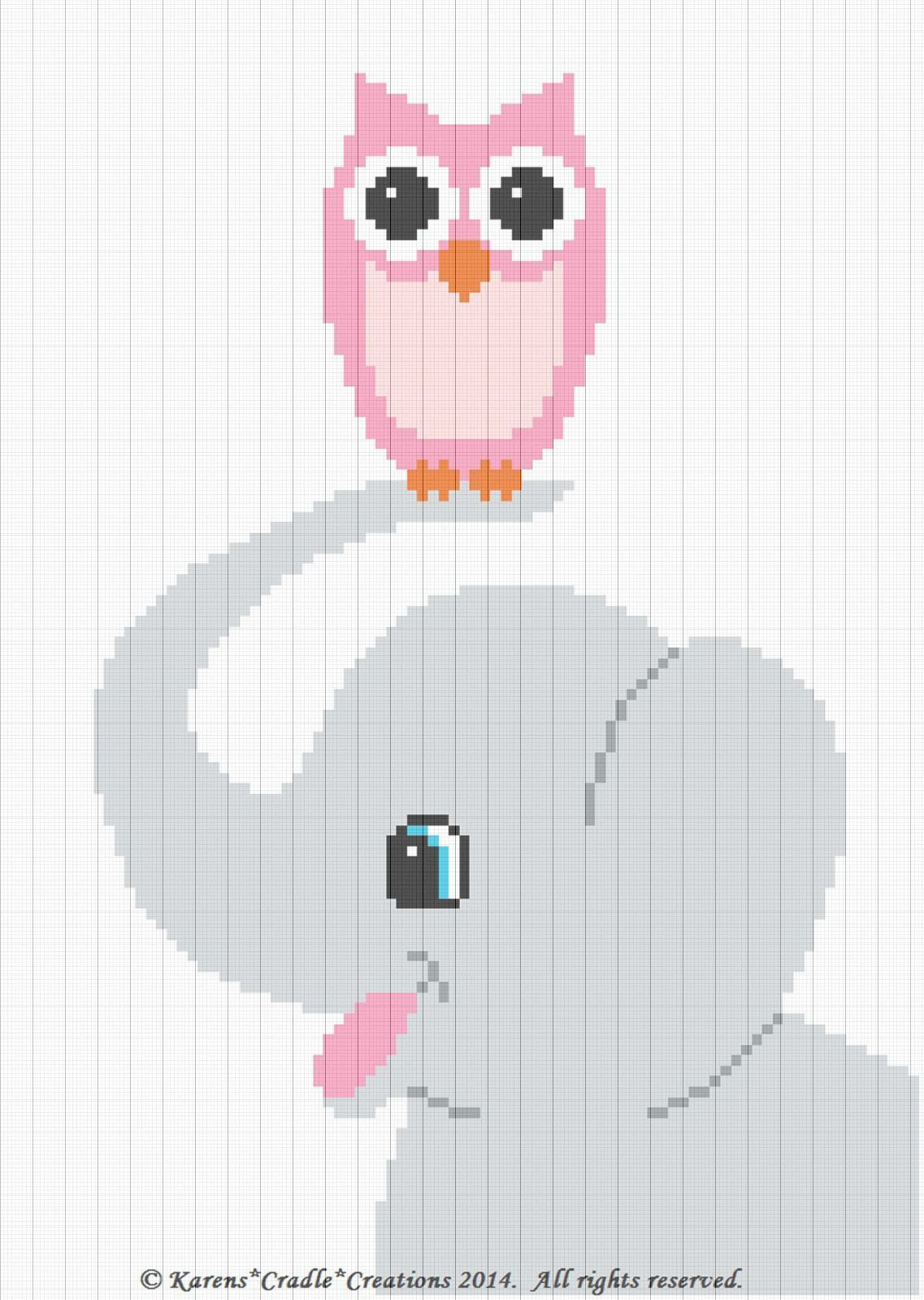 Crochet Patterns - Elephant And Owl Graph/Chart Afghan Pattern Easy ...