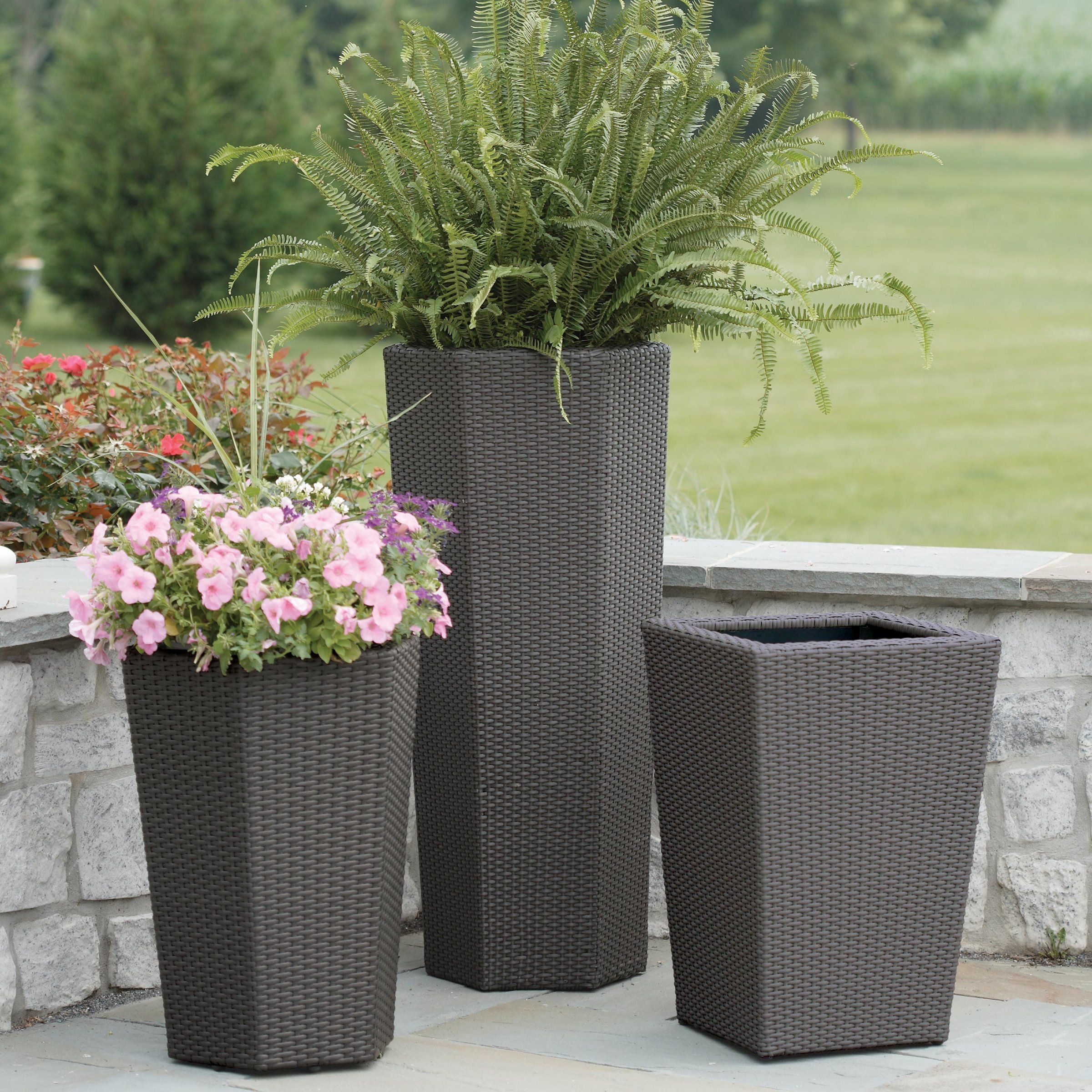 Resin Wicker Vista Planter Outdoor Planters Garden Planters