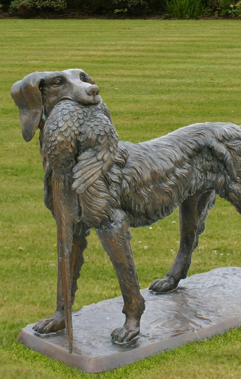 Bronze Hunting Dog With Bird.