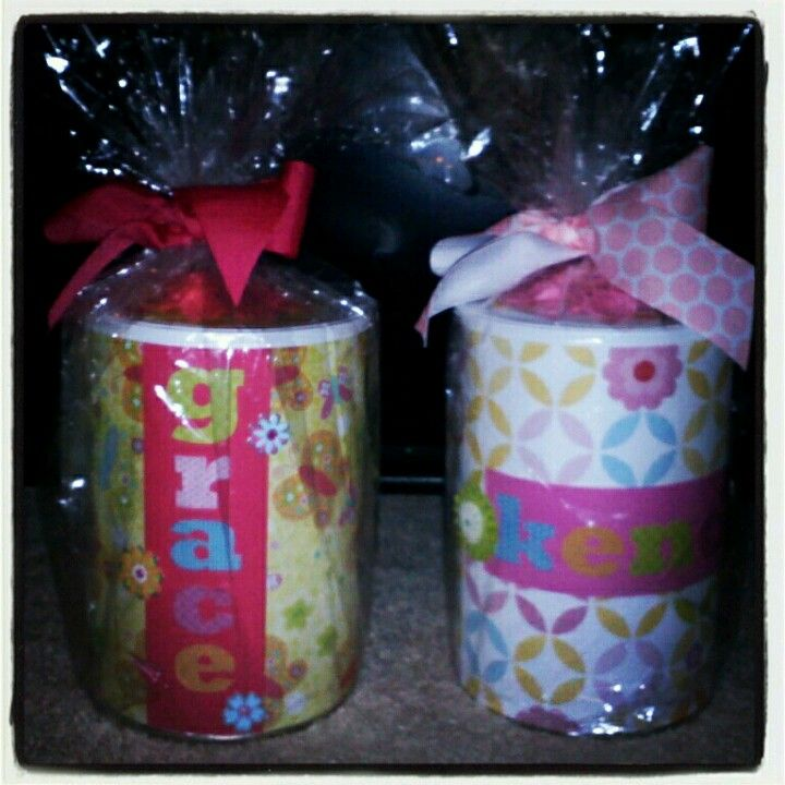 Upcycled formula cans. Used to hold cute little tin tea seats for my nieces for christmas.