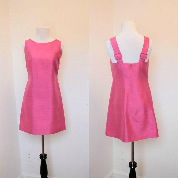 Vintage Silk Saks Fifth Avenue Dress// Hot Pink Silk Jumper Dress ...