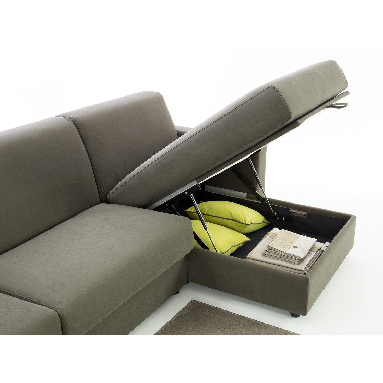 Divano letto Colin con chaise longue contenitore e braccioli modello ...