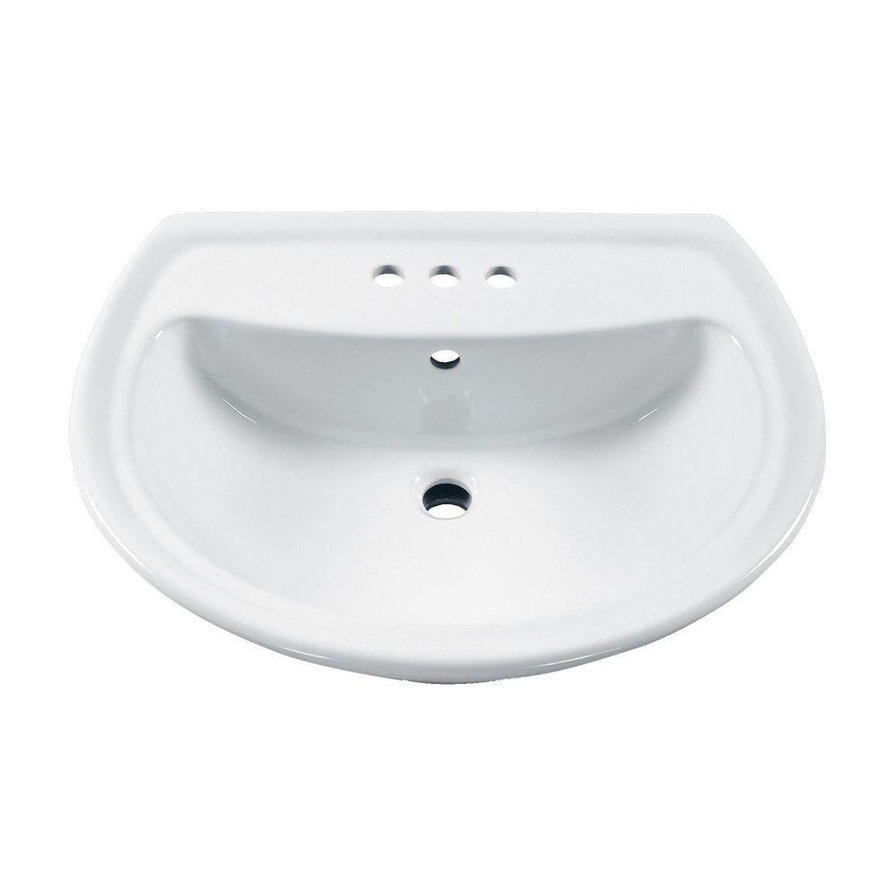 American Standard Cadet 6 In Pedestal Sink Basin With 4 In