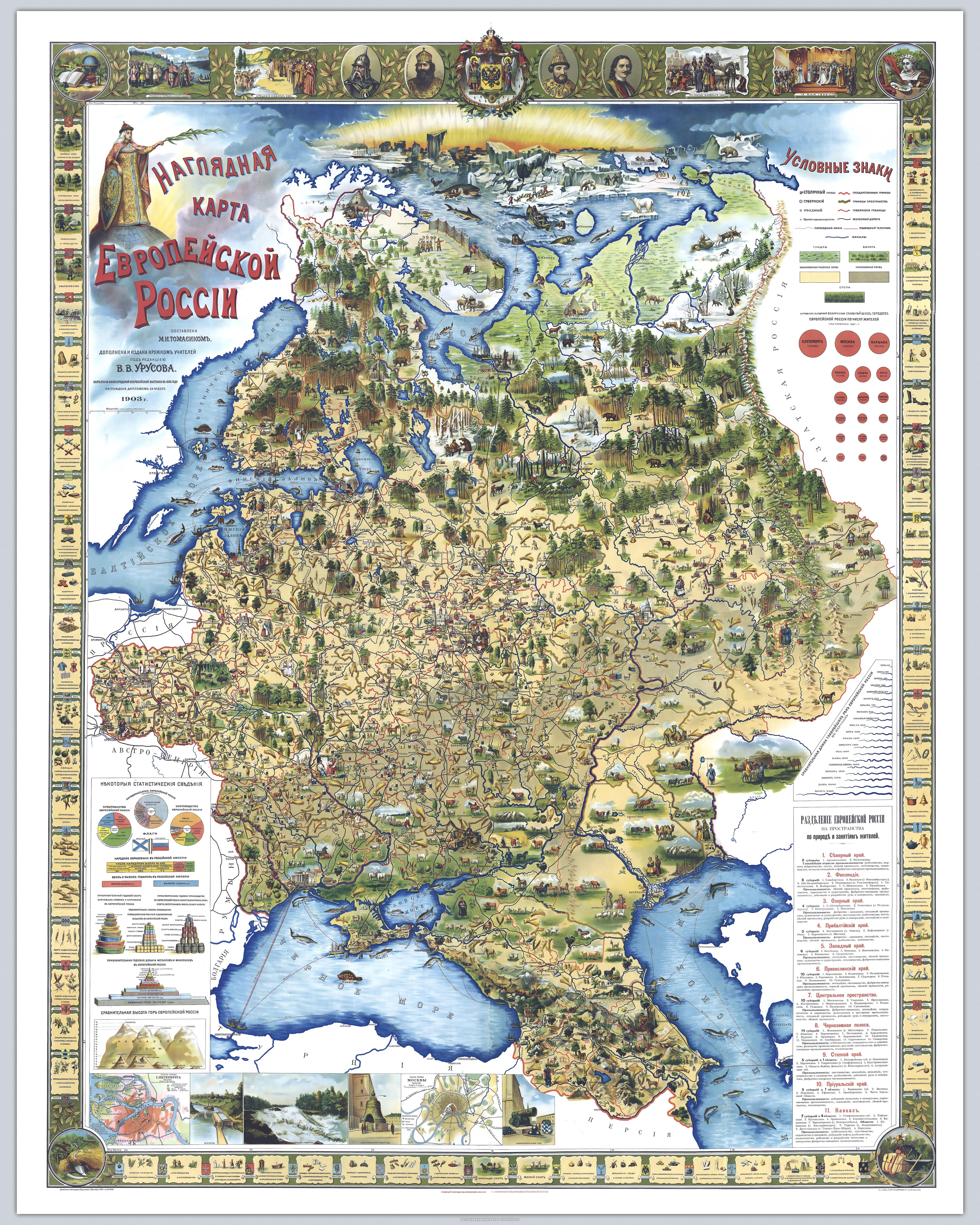 Illustrated map of European Russia 1903 Renovated MAPS