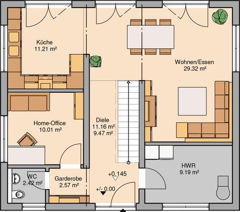 Kern haus stadtvilla signus grundriss erdgeschoss dach for Muster grundrisse haus