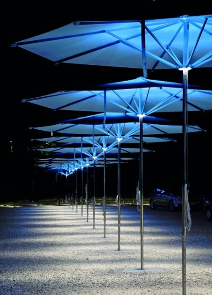 Viabizzuno Ombrella Parasol With Built In Colour Change Led Lighting By Alessandro Andreucci