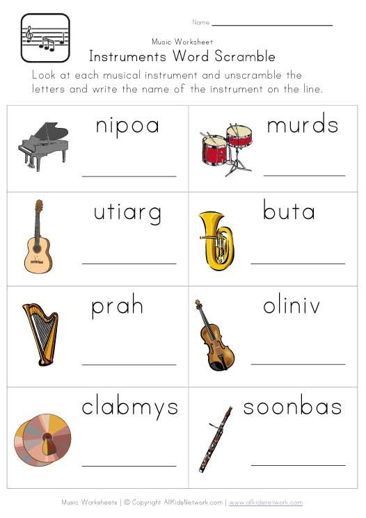 Printables Instrument Worksheets For Preschool instruments word scramble worksheet classroom pinterest worksheet