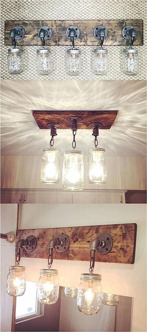 DIY Mason Jar Light Fixtures #homeimprovementprojects #bathroomdecoration