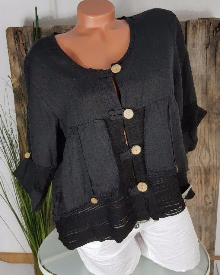 neu italy 100 leinen bluse bolero jacke lagenlook schwarz xxl 44 48 ebay jacken pinterest. Black Bedroom Furniture Sets. Home Design Ideas