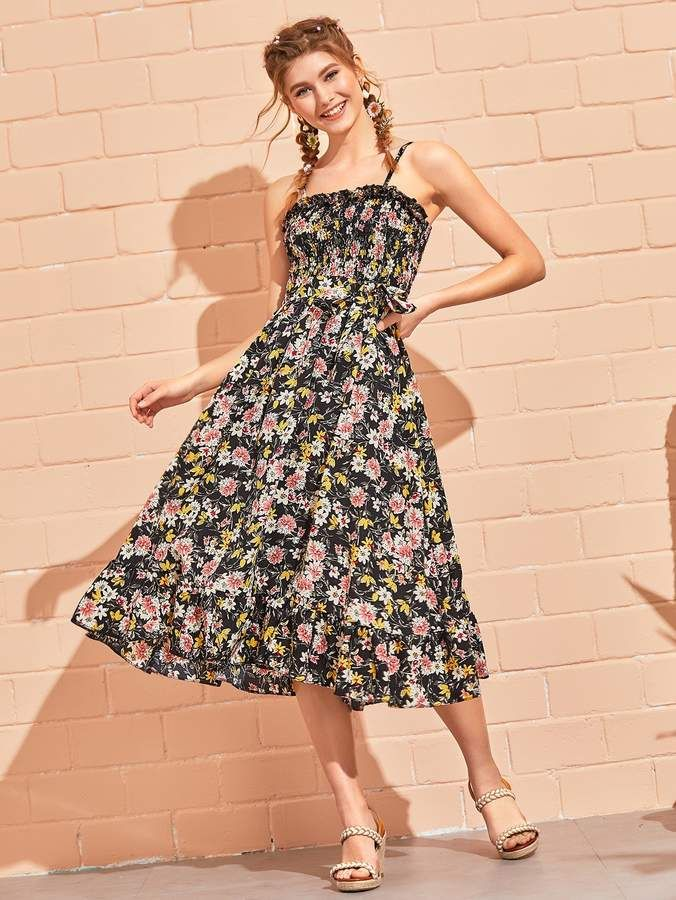 6d00e5c607 Shein Ditsy Floral Shirred Belted Cami Dress in 2019 | Products ...