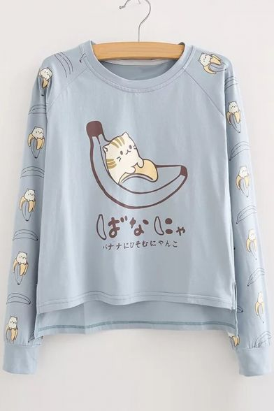 cde3e229a Cartoon Cat Printed Long Sleeve Round Neck Loose Leisure T-Shirt ...