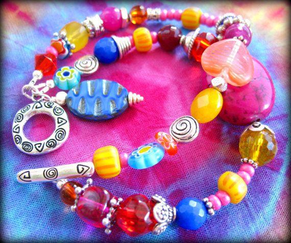 Boho Indie Double Strand Colorful Bead Bracelet, Funky Fun Glass and Stone Bracelet