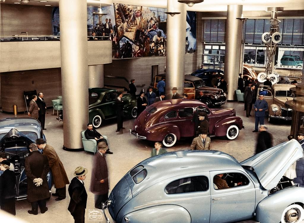 A Ford showroom at 1710 Broadway, NYC, in the late 1930s (Imbued ...