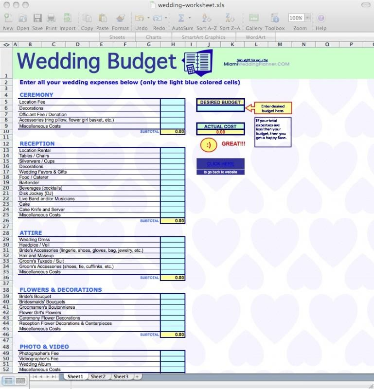 Wedding Budget Worksheet Check more at   - wedding spreadsheet template
