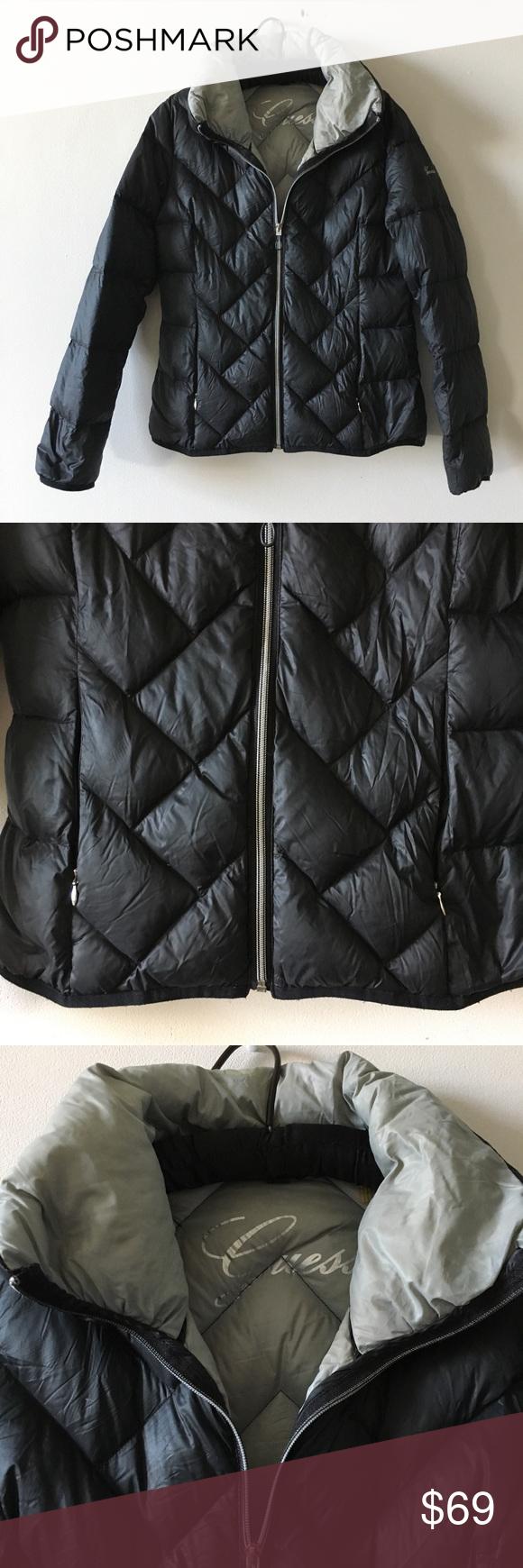 Guess Black Down Feather Lightweight Puffer Jacket Black Down Black Puffer Coat Black Puffer [ 1740 x 580 Pixel ]