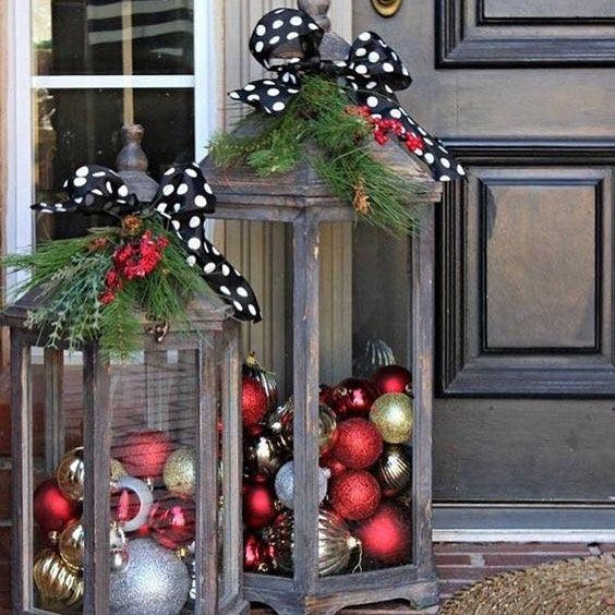 Diy Christmas Lanterns Just Pinned To Our Christmas Crate Diy Pinterest Board These Are So Festive With Images Christmas Display Christmas Lanterns Christmas Porch Decor