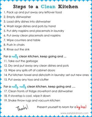 Printable kitchen cleaning checklist for kids teaching for How to clean your kitchen