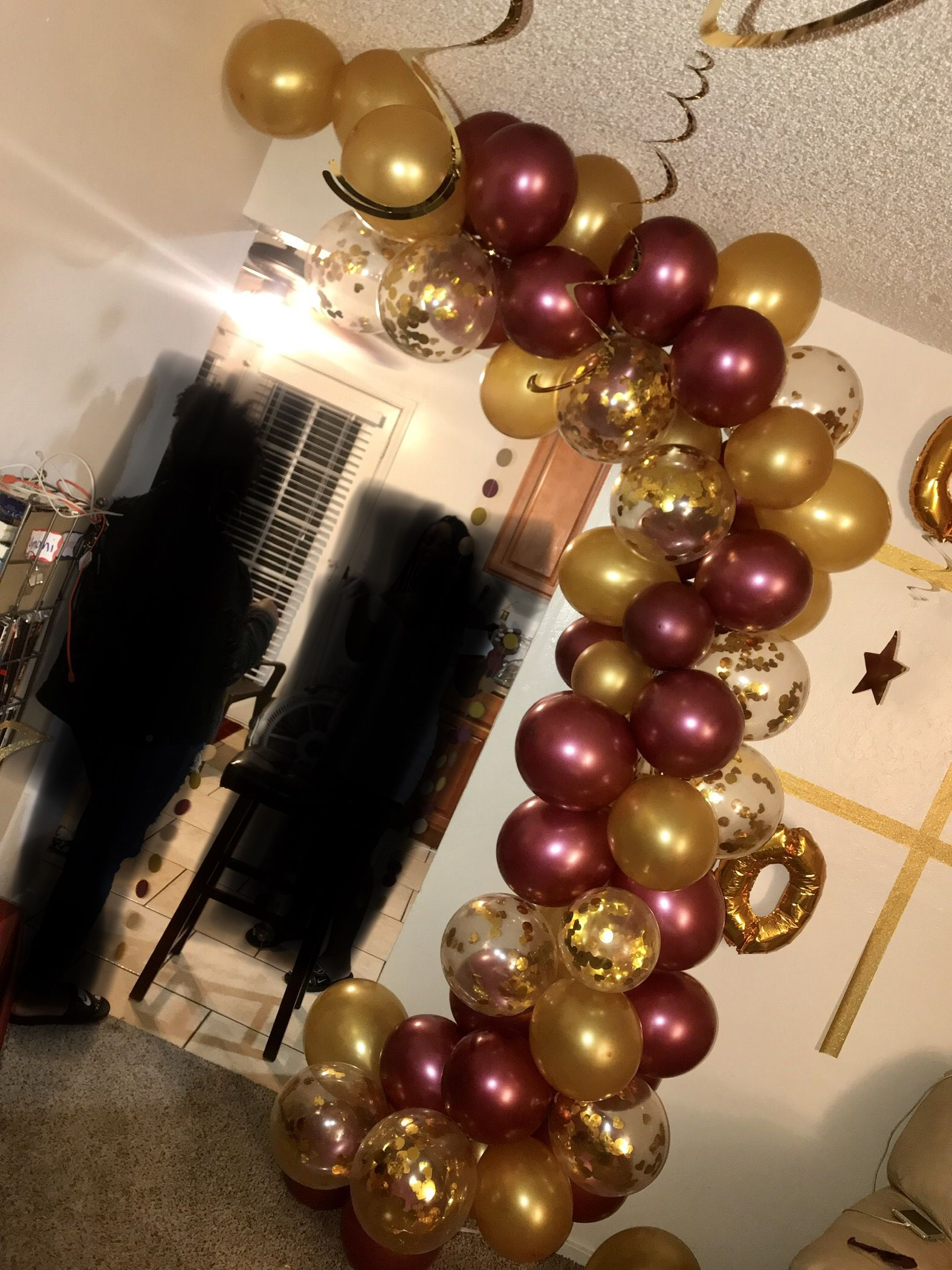 Maroon Gold And Confetti Balloon Garland For Birthday Party