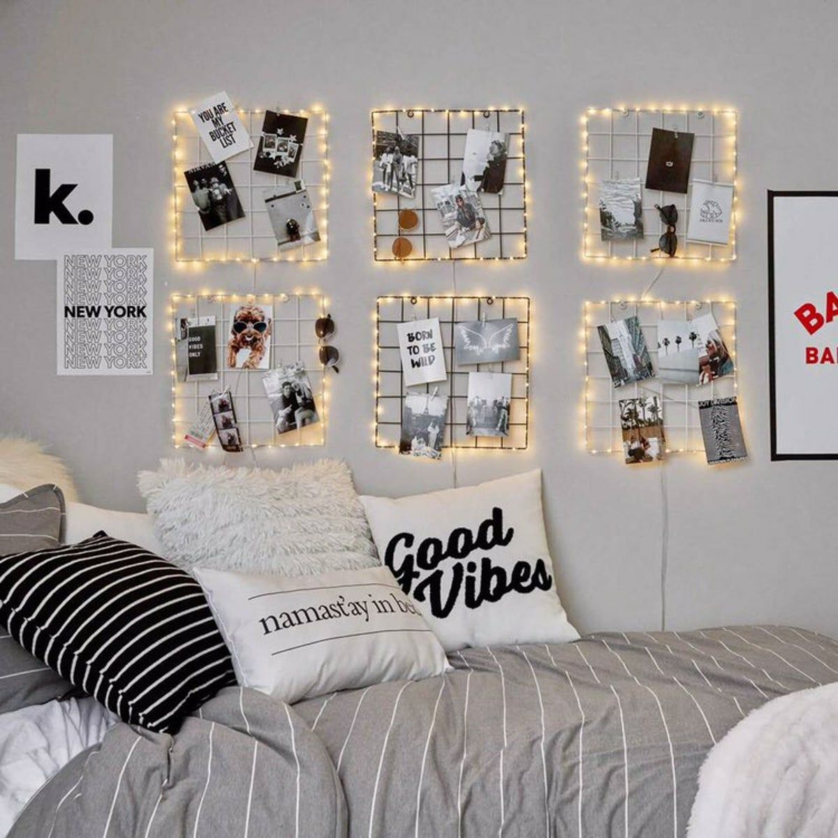 Gold Grid Wall With Lights In 2020 Girl Bedroom Decor Cool Dorm