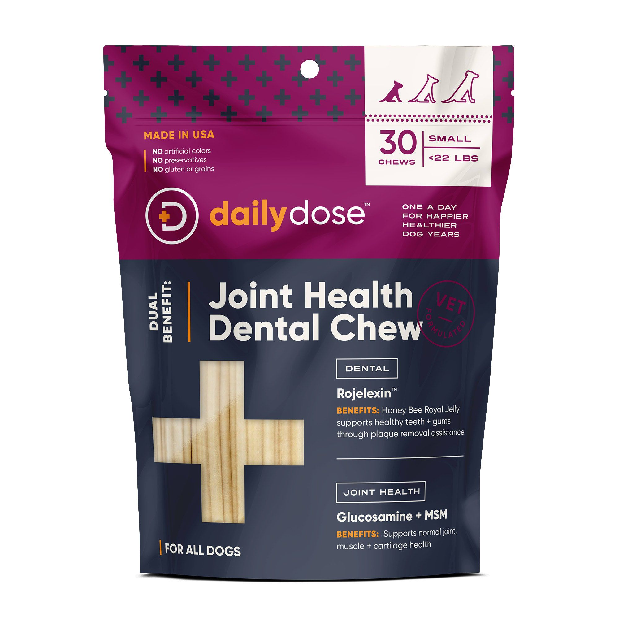 daily dose Dual Benefit Dental + Joint Health Chews for