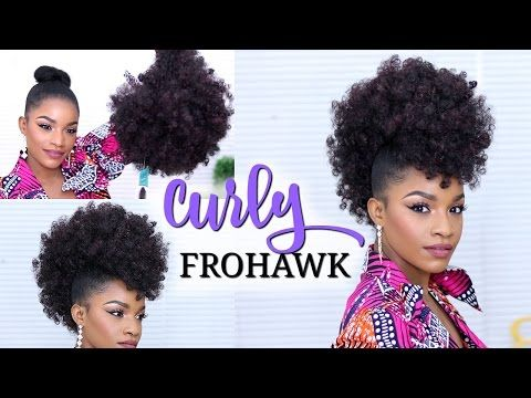 Faux Hawk Using A Drawstring Ponytail How To Do A Curly Frohawk Youtube Drawstring Ponytail Curly Drawstring Ponytail Curly Hair Styles
