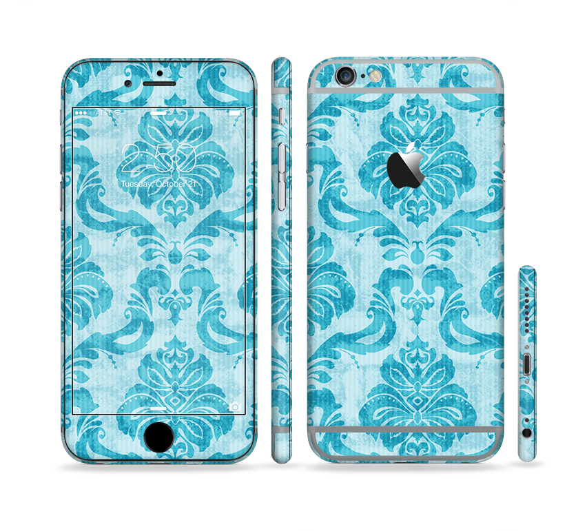The Delicate Trendy Blue Pattern V4 Sectioned Skin Series for the Apple iPhone 6s Plus