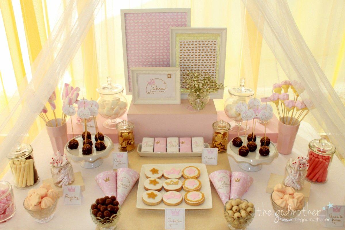 Mesa dulce comuni n mesa dulce princesas mesa dulce en - Decoracion de cumpleanos rosa y dorado ...