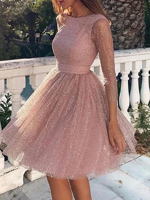 Sequin Cocktail Party Evening Prom Dress