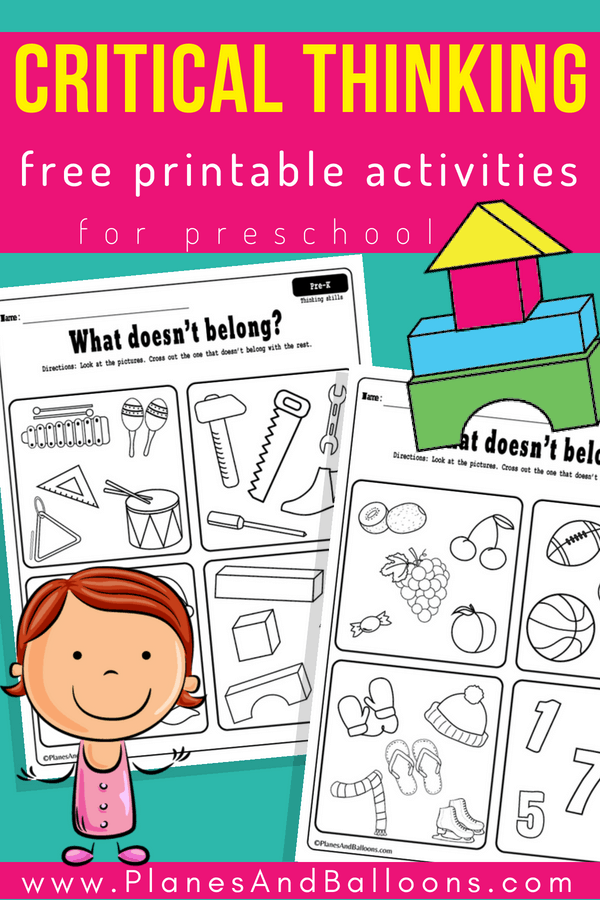 Critical Thinking Preschool Worksheets Free Printable Planes Balloons Let S Make Learning Fun Critical Thinking Activities School Readiness Activities Preschool Activities