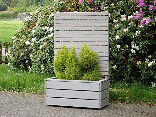 Pflanzkübel Holz mit Sichtschutz, Transparent Geölt Grau