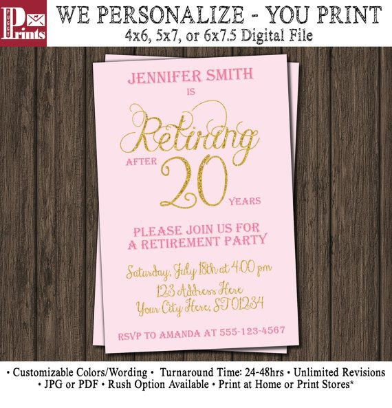 Pink And Gold Retirement Invitation  WomenS Retirement Party