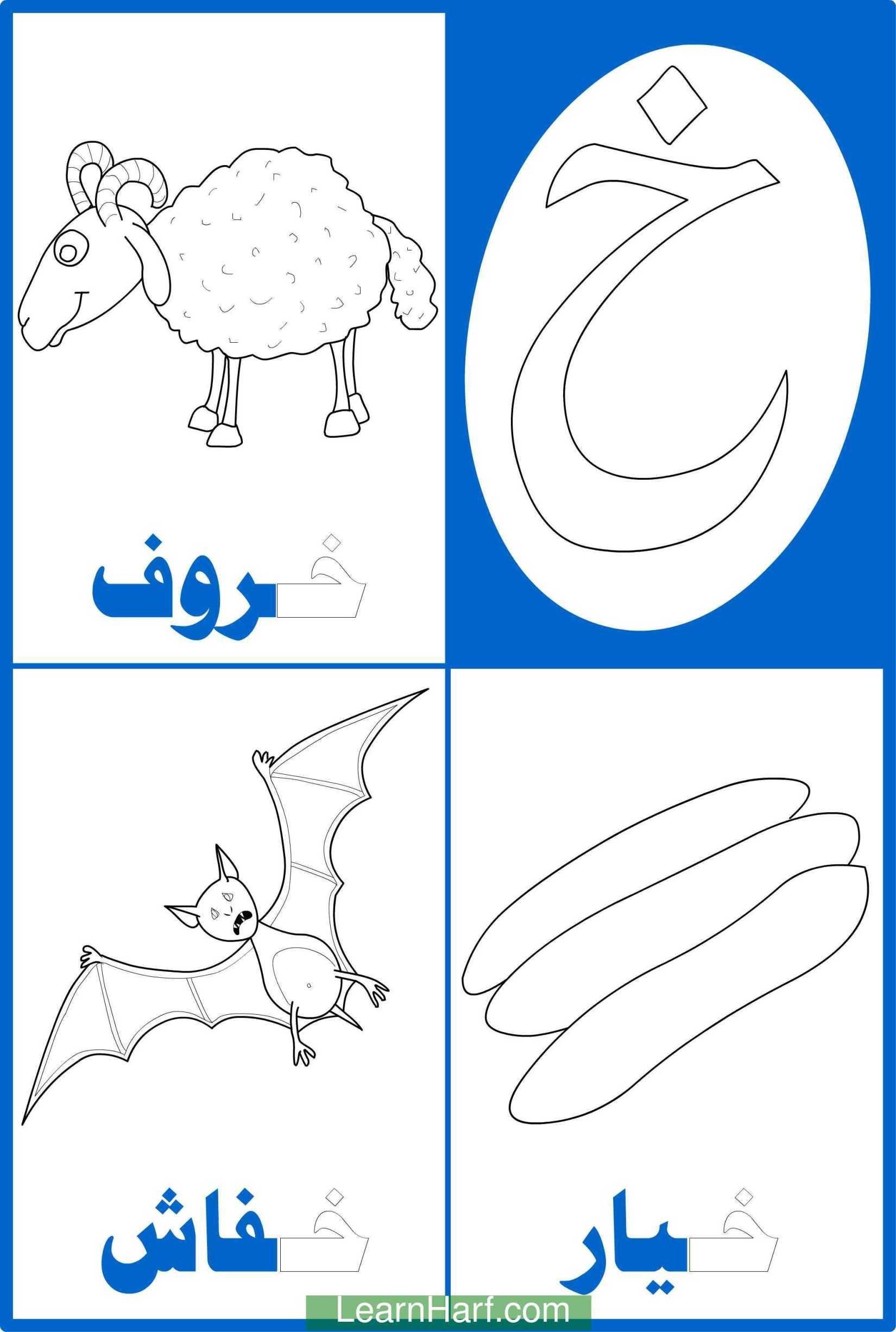 تلوين حرف الخاء خاء خروف خاء خيار خاء خفاش Alphabet Worksheets Preschool Alphabet Preschool Arabic Alphabet