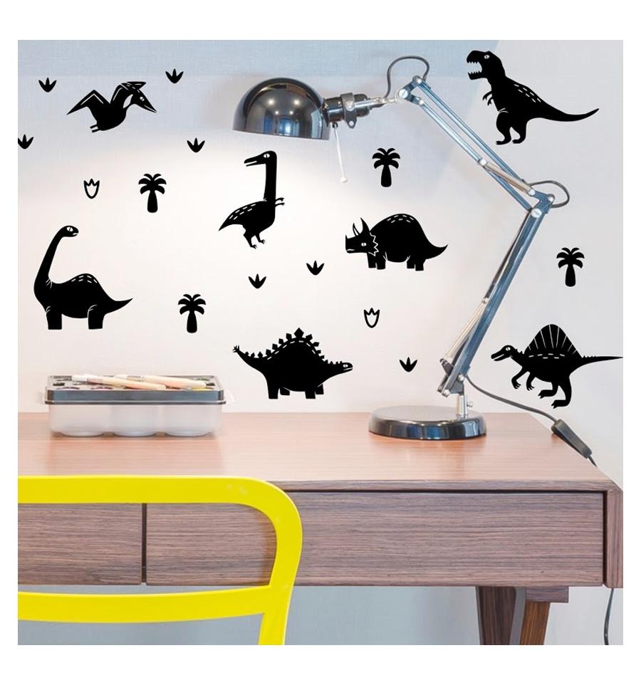 Stickers chambre bébé - Stickers chambre enfant dinosaures en 19