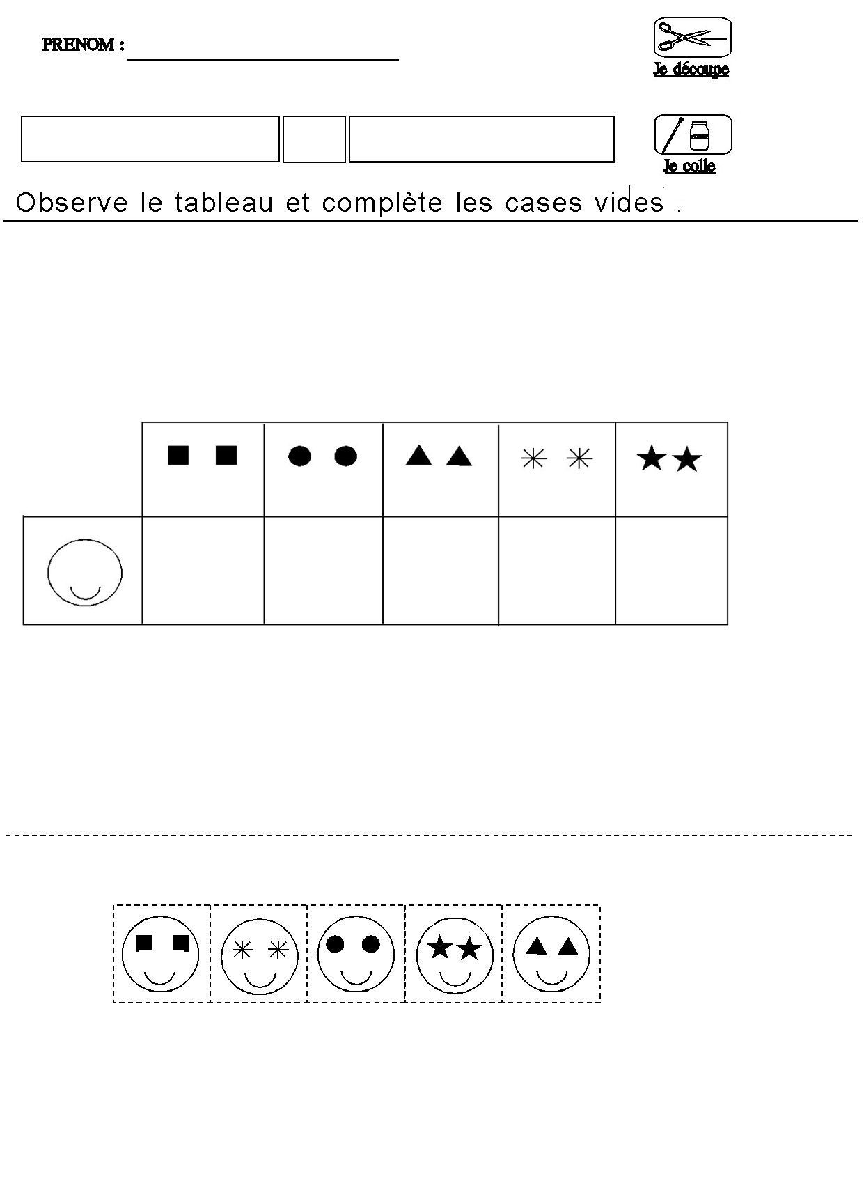 tableau double entrees pour maternelle moyenne section grande section - Maternelle Grande Section