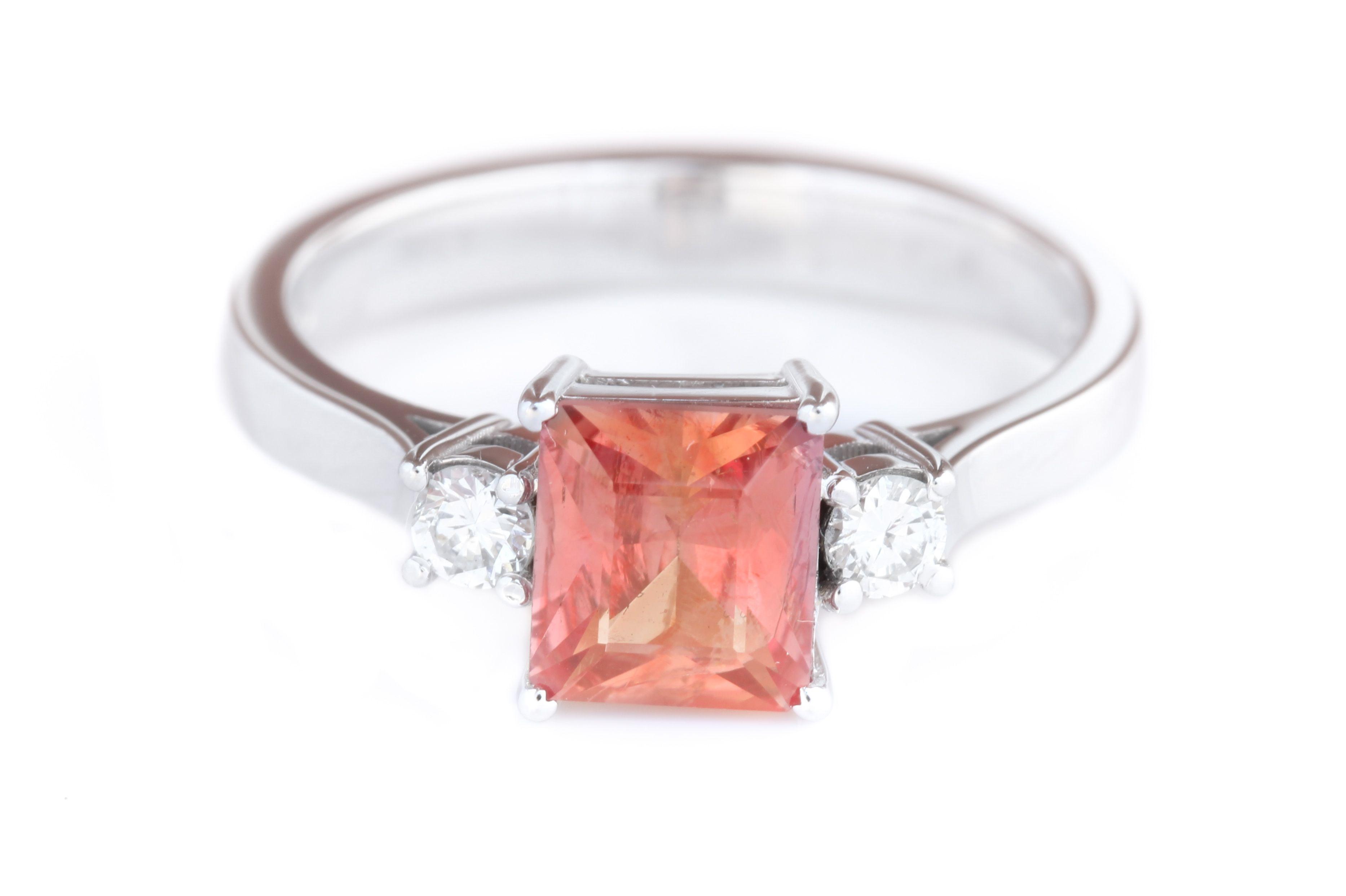 Padparadscha sapphire ct cts diamonds set in k white